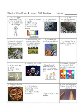 Wordly Wise Book 4 Lesson 1 & 2 Bingo Game