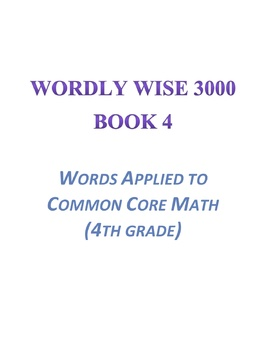 Wordly Wise, Book 4 Lesson 7 Applied to Mathematics