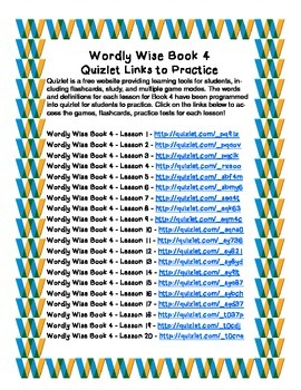 Wordly Wise Book 4 - Quizlet Links