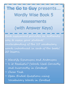 Wordly wise teaching resources teachers pay teachers wordly wise book 5 authentic assessments all 20 lessons fandeluxe Image collections