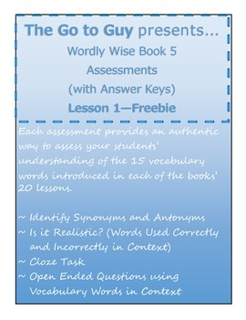 Wordly Wise Book 5 Authentic Assessments - Lesson 1 Free