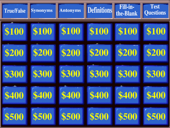 Wordly Wise Book 5 Jeopardy Review Game for Lessons 1-16