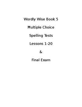 Wordly Wise Book 5 Spelling Tests