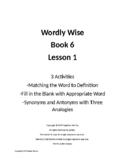 Wordly Wise Book 6, Lesson 1 - Three Activities