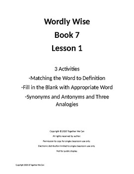Wordly Wise, Book 7, Lesson 1 - Three Activities
