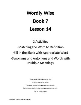 Wordly Wise, Book 7 - Lesson 14 - Three Activities