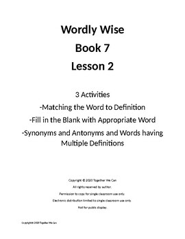 Wordly Wise, Book 7, Lesson 2 - Three Activities