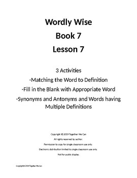 Wordly Wise, Book 7, Lesson 7 - Three Activities