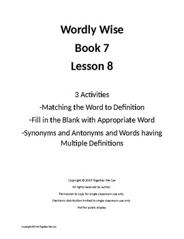Wordly Wise Book 7, Lesson 8 - Three Activities