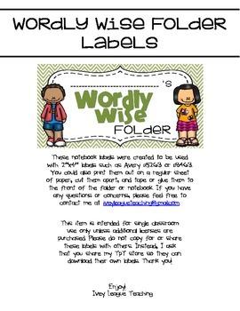 Wordly Wise Folder Labels