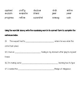 Wordly Wise 3000, Grade 4, Lesson 6 Quiz