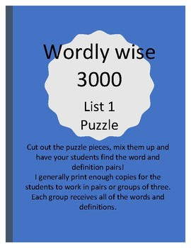 Wordly Wise Puzzle
