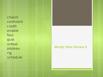 Wordly Wise Unit 6 Powerpoint vocabulary review cloze fill in the blank