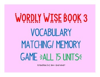 Wordly Wise 3000 - Book 3 - Memory/Matching Game