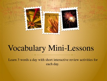 Wordly Wise Vocabulary 3000 Grade 8 Mini-Lessons:  UNIT 1