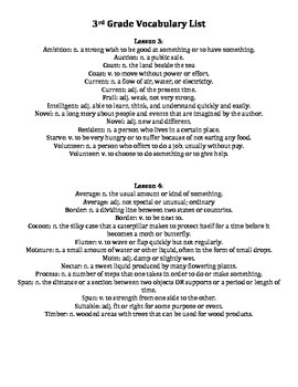 Wordly Wise Vocabulary List Printable