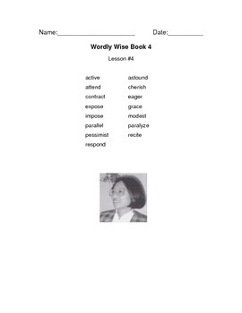 Wordly Wise Vocabulary Packet Cover Pages grade 4