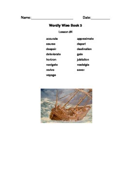 Wordly Wise Vocabulary Packet Cover Pages grade 5
