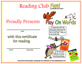 Wordplay Reading Log and Certificate Set