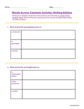 Words Across Contexts Bundle - Vocabulary Activities for Tier 2 Words