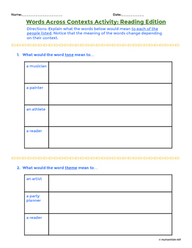 Words Across Contexts - Vocabulary Activity for Tier 2 Reading Words