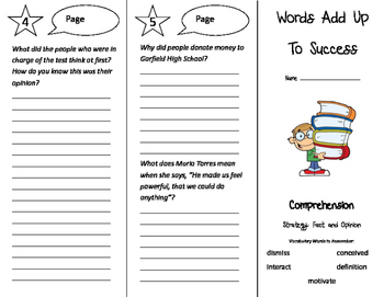 Words Add Up To Success Trifold - California Treasures 4th Grade Unit 3 Week 4