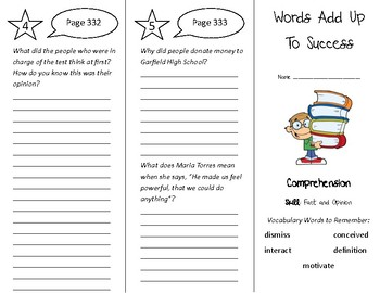 Words Add Up To Success Trifold - Treasures 4th Grade Unit