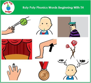 Words Beginning With TH Phonics Clip Art by Roly Poly Designs