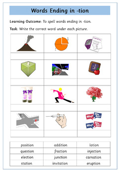 Words Ending In 'tion' - Set of 14 Differentiated Worksheets