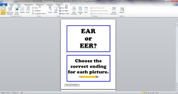 Words Ending With EER and EAR Task Cards