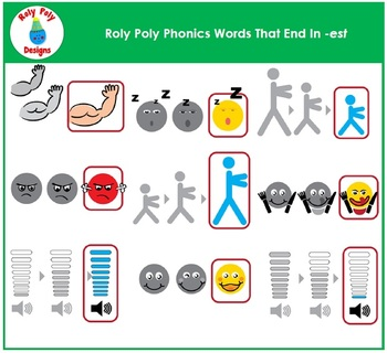 Words Ending With -est Phonics Clip Art by Roly Poly Designs