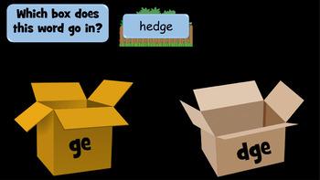 Words Ending in 'ge' / 'dge' - 43 Slide PowerPoint Lesson