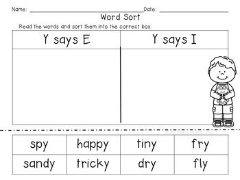 """Word Sorts-Words Ending in """"y"""" (When """"Y"""" sounds like """"i"""" or """"e"""""""