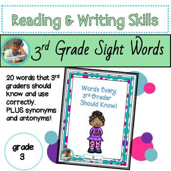 Vocabulary for  3rd Grade: Literacy Center