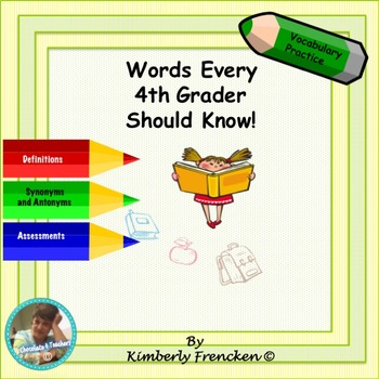 Vocabulary for 4th Grade: Literacy Center