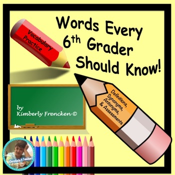 Vocabulary for  6th  Grade: Literacy Center