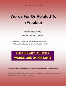 Words For Or Related To (Freebie)