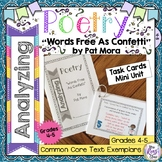 Poetry Task Cards Words Free As Confetti by Pat Mora  Poetry Analysis Mini Unit