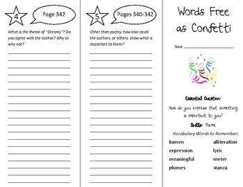 Words Free as Confetti Trifold - Wonders 5th Grade Unit 4 Week 5