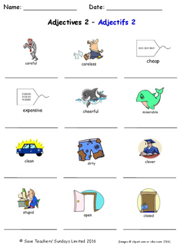 Adjectives in French Worksheets