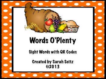 Words O Plenty QR Code Sight Words