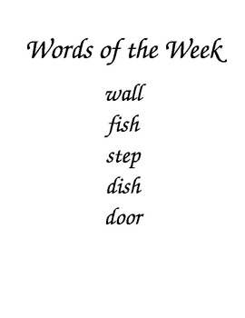 Words Of The Week Template
