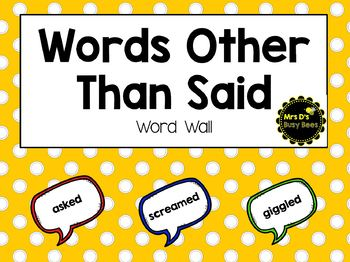 Words Other Than Said - Word Wall