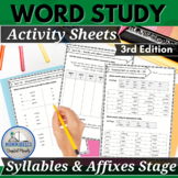 Words Our Way for Syllables and Affixes Spellers Practice Worksheets 3rd Edition