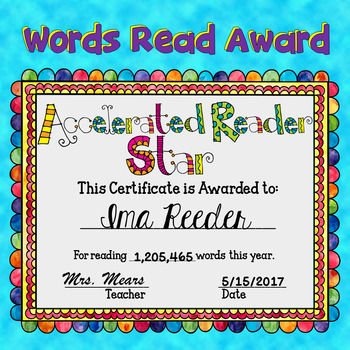 Reading Award - Words Read