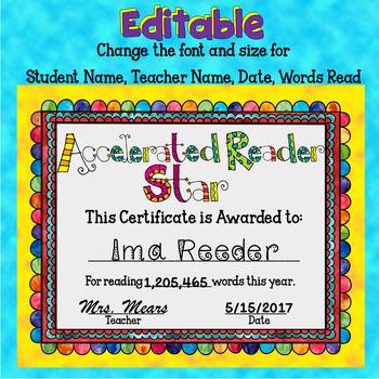 Reading Award - Words Read