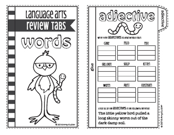 Words - Review Tabs (adjectives, prefixes, suffixes, synonyms, antonyms)