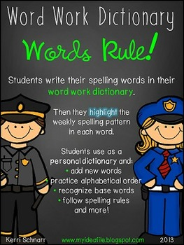 Words Rule!  Word Work Dictionary