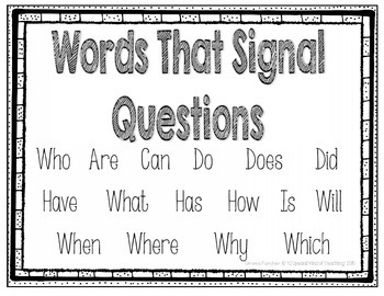 Words That Signal Questions {FREEBIE}