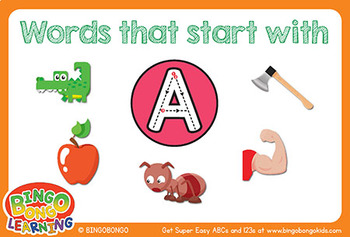 Words That Start With the Letter A Flashcards - ABCs Writing Practice/Phonics